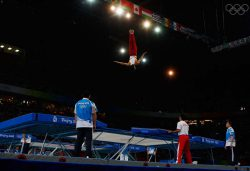 BEIJING - AUGUST 19:  Tetsuya Sotomura of Japan competes in the men?s trampoline final in the gymnastics event at the National Indoor Stadium on Day 11 of the Beijing 2008 Olympic Games on August 19, 2008 in Beijing, China.  (Photo by Cameron Spencer/Getty Images)